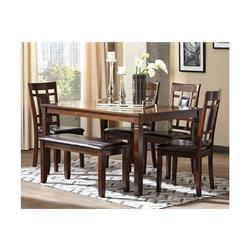 BENNOX BROWN 6 PC DINING TABLE WITH BENCH D384-25 Image