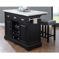 ASPEN WHITE MARBLE KITCHEN ISLAND SET AS380CKT/CKB/CS*2 Image